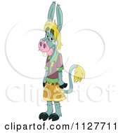 Donkey Boy Standing Upright In Clothes