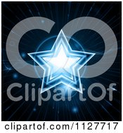 Clipart Of A Glowing Blue Christmas Star And Orbs Royalty Free Vector Illustration