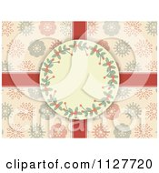 Clipart Of A Retro Holly Christmas Frame Over Ribbons And Snowflakes On Pink Royalty Free Vector Illustration