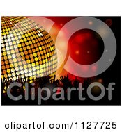 Clipart Of Silhouetted Crowd Hands Over Red With A Disco Ball Royalty Free Vector Illustration