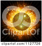 Clipart Of A 3d Gold Disco Ball Over A Star Burst Royalty Free Vector Illustration