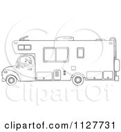 Cartoon Of An Outlined Man Driving A Motor Home RV Royalty Free Vector Clipart