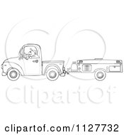 Cartoon Of An Outlined Man Driving A Pickup With A Tent Trailer Royalty Free Vector Clipart