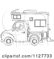Cartoon Of An Outlined Man Driving A Pickup With A Camper Royalty Free Vector Clipart