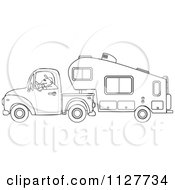 Cartoon Of An Outlined Man Driving A Pickup With A 5th Wheel Camper Royalty Free Vector Clipart