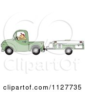 Cartoon Of A Man Driving A Pickup With A Tent Trailer Royalty Free Vector Clipart