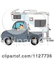 Cartoon Of A Man Driving A Pickup With A Camper Royalty Free Vector Clipart by djart