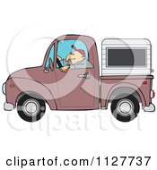 Cartoon Of A Man Driving A Pickup Truck With A Sleeper Or Canopy Royalty Free Vector Clipart by Dennis Cox