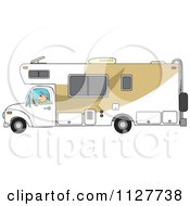 Cartoon Of A Man Driving A Motor Home RV Royalty Free Vector Clipart