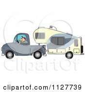 Cartoon Of A Man Driving A Pickup With A 5th Wheel Camper Royalty Free Vector Clipart