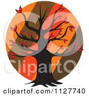 Cartoon Of An Autumn Tree Over Diagonal Stripes On A Circle Royalty Free Vector Clipart