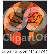 Cartoon Of An Autumn Tree Over Diagonal Stripes On Black Royalty Free Vector Clipart