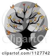 Cartoon Of An Autumn Tree Over Diagonal Gray Stripes Royalty Free Clipart