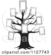 Cartoon Of A Black And White Family Tree With Picture Frames Royalty Free Vector Clipart by djart