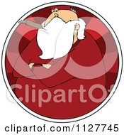 Cartoon Of A Grouchy Santa Smoking A Cigar In A Red Circle Royalty Free Vector Clipart