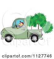 Cartoon Of A Man Driving A Pickup Truck With Trees In The Bed Royalty Free Vector Clipart