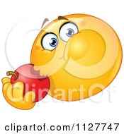 Cartoon Of A Hungry Smiley Emoticon Eating An Apple Royalty Free Vector Clipart