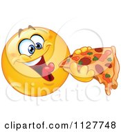Cartoon Of A Hungry Smiley Emoticon Eating Pizza Royalty Free Vector Clipart