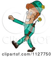 Cartoon Of A Cheerful Soldier With Flowers For Make Love Not War Royalty Free Vector Clipart
