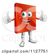 Cartoon Of A Happy Red Book Mascot Holding Two Thumbs Up Royalty Free Vector Clipart