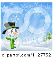 Cartoon Of A Happy Snowman In A Scarf And Top Hat In A Winter Landscape Royalty Free Vector Clipart by AtStockIllustration