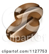 Clipart Of Two Roasted Coffee Beans Royalty Free Vector Illustration