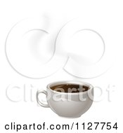 Clipart Of A White Cup Of Steamy Coffee Royalty Free Vector Illustration by AtStockIllustration