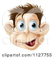 Cartoon Of A Happy Laughing Monkey Face Royalty Free Vector Clipart by AtStockIllustration