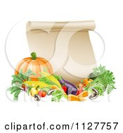 Clipart Of A Thanksgiving Scroll With Harvest Vegetables Royalty Free Vector Illustration
