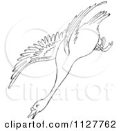 Cartoon Of A Retro Vintage Black And White Swan Descending In Flight Line Drawing Royalty Free Vector Clipart