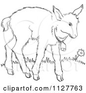 Cartoon Of A Retro Vintage Black And White Baby Goat With A Bell Line Drawing Royalty Free Vector Clipart