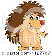 Cartoon Of A Cute Happy Hedgehog Presenting Royalty Free Vector Clipart by visekart