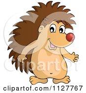 Cute Happy Hedgehog Presenting