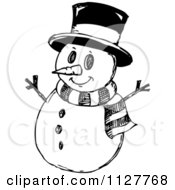 Sketched Black And White Christmas Snowman