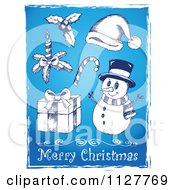 Merry Christmas Greeting And Sketched Items On Blue