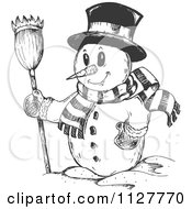 Cartoon Of A Sketched Christmas Snowman In A Top Hat And Scarf Holding A Broom Royalty Free Vector Clipart