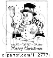 Merry Christmas Greeting And Sketched Snowman In Black And White
