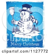 Merry Christmas Greeting And Sketched Snowman On Blue