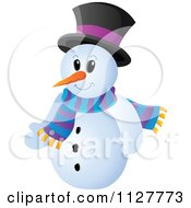 Cartoon Of A Christmas Snowman In A Top Hat And Scarf Royalty Free Vector Clipart by visekart