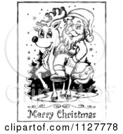 Merry Christmas Greeting And Sketched Santa On A Reindeer In Black And White