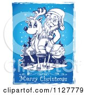 Merry Christmas Greeting And Sketched Santa On A Reindeer On Blue
