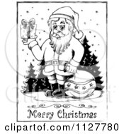 Merry Christmas Greeting And Sketched Santa In The Snow In Black And White