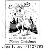 Merry Christmas Greeting And Sketched Reindeer In Black And White