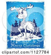 Merry Christmas Greeting And Sketched Reindeer Over Blue