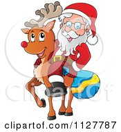 Cartoon Of Santa Carrying A Bag And Riding A Reindeer Royalty Free Vector Clipart