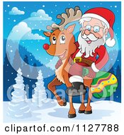 Cartoon Of Santa Carrying A Bag And Riding A Reindeer In The Snow Royalty Free Vector Clipart