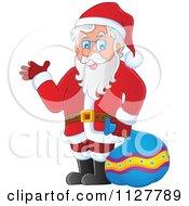 Cartoon Of Santa Carrying A Bag And Presenting Royalty Free Vector Clipart