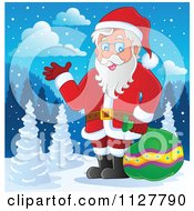 Cartoon Of Santa Carrying A Bag And Presenting In The Snow Royalty Free Vector Clipart