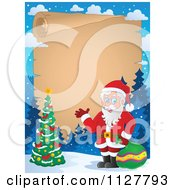 Cartoon Of Christmas Frame Of Santa And A Christmas Tree By Parchment Royalty Free Vector Clipart