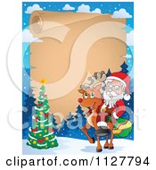 Cartoon Of Christmas Frame Of Santa On A Reindeer By A Christmas Tree Over Parchment Royalty Free Vector Clipart